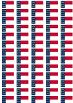 North Carolina Flag Stickers - 65 per sheet